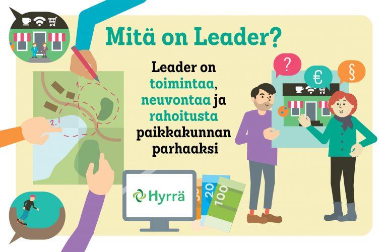 Mitä on Leader? Leader on toimintaa, neuvontaa ja rahoitusta paikkakunnan parhaaksi.