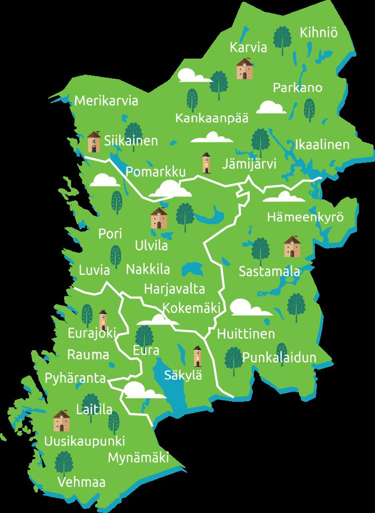 Satakunnan Leader kartta 2021