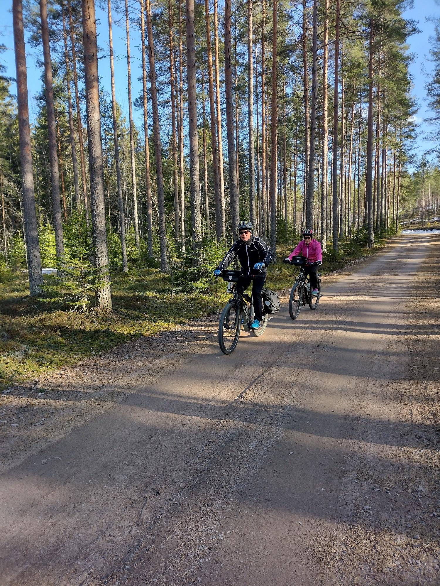 Kaksi pyöräilijää harjumaisemissa